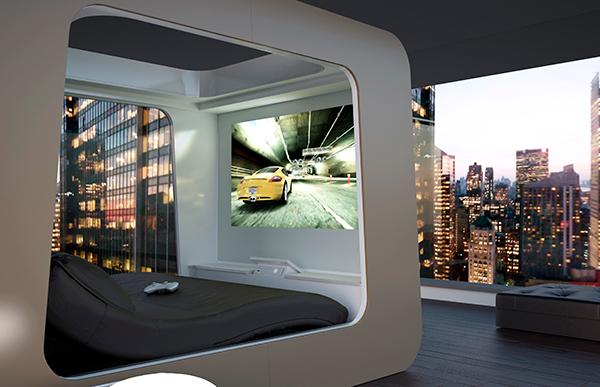 Think Future Design Quand écran Et Console Se Greffent à Un Lit - Lit baldaquin contemporain